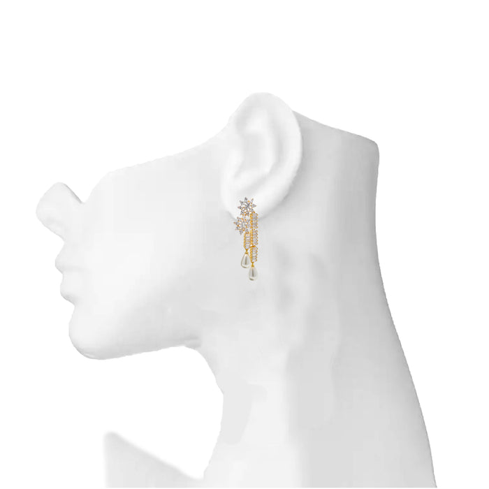 American Diamond With Moti Earring On Mannequin