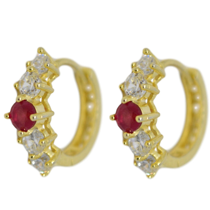 American White Diamond With Red Stone Earring Front View