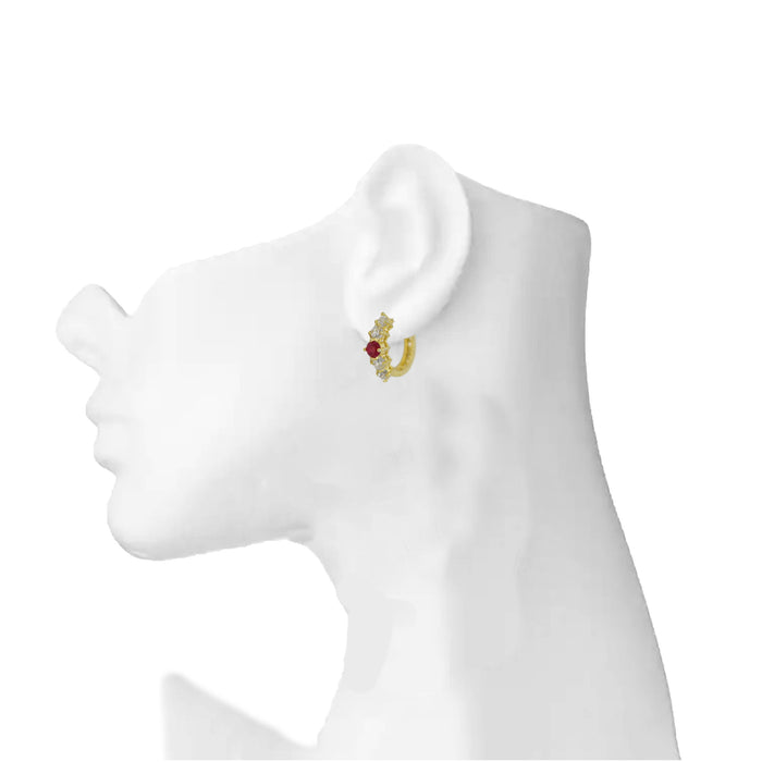 American White Diamond With Red Stone Earring On Mannequin