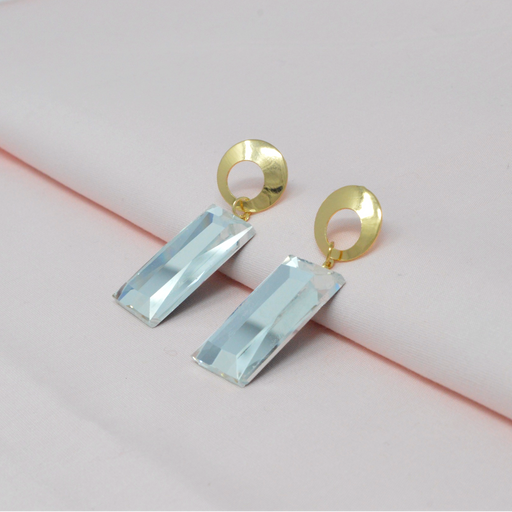 Golden White Stone Rectangle Shape Earring Color