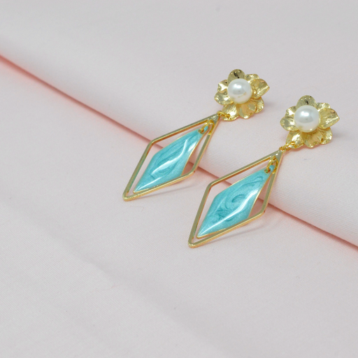 Golden Moti Blue Earring Color