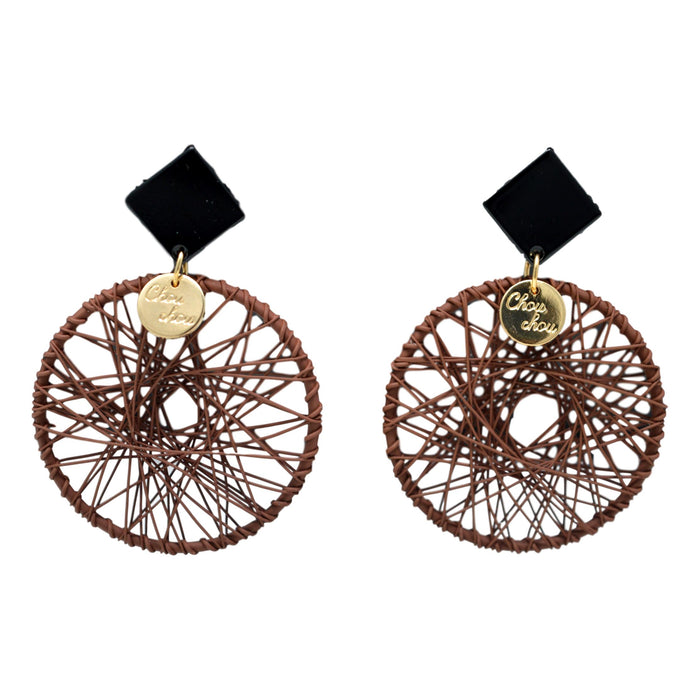 Brown Dhaga Circle Earring Front View