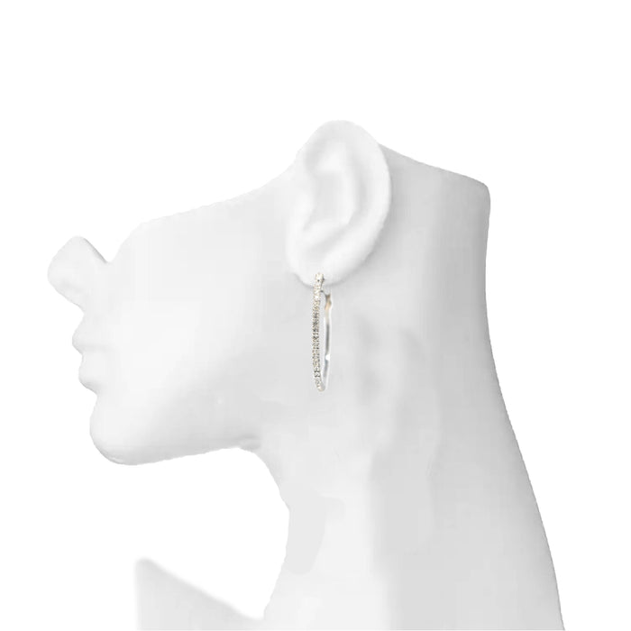 White American Diamond Earring On Ear