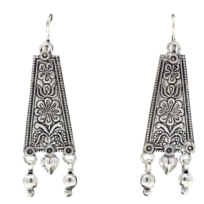 Oxidised Long Earring Front View