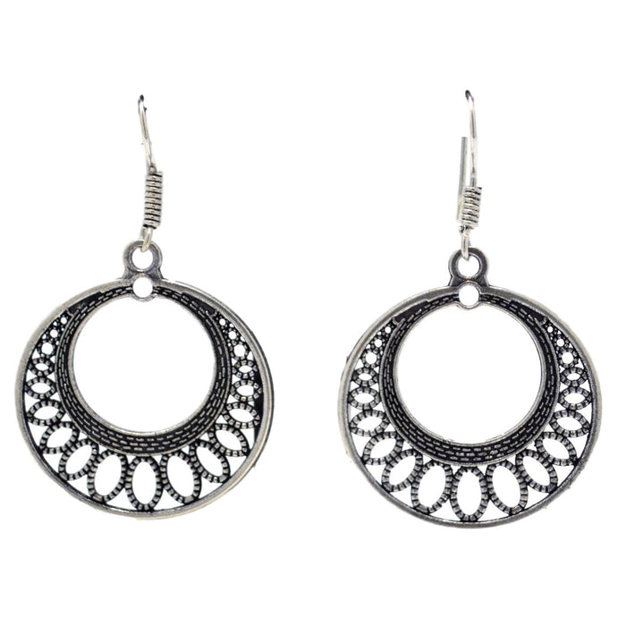 Oxidised Ring Earring Front View