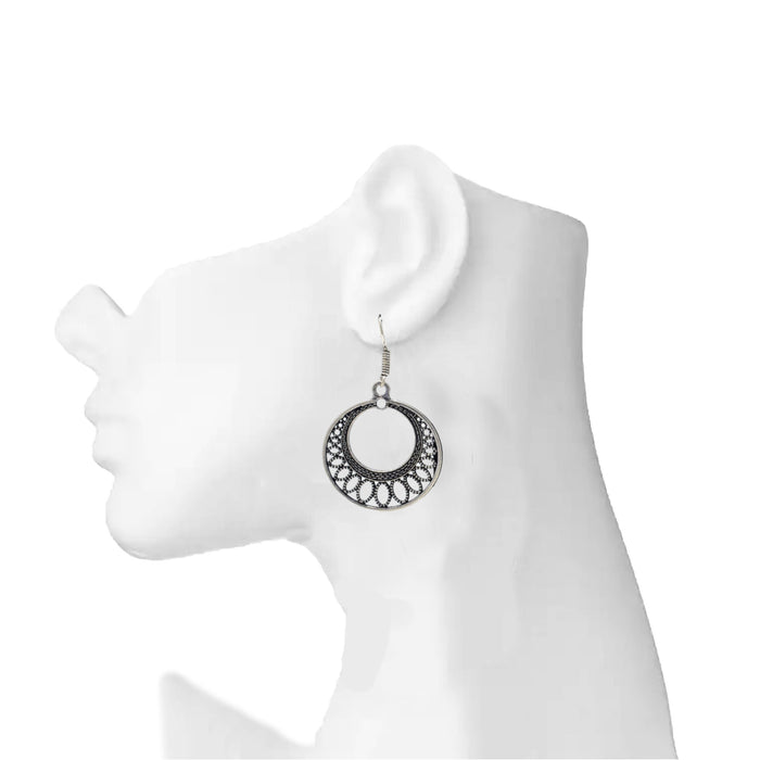 Oxidised Ring Earring On Ear