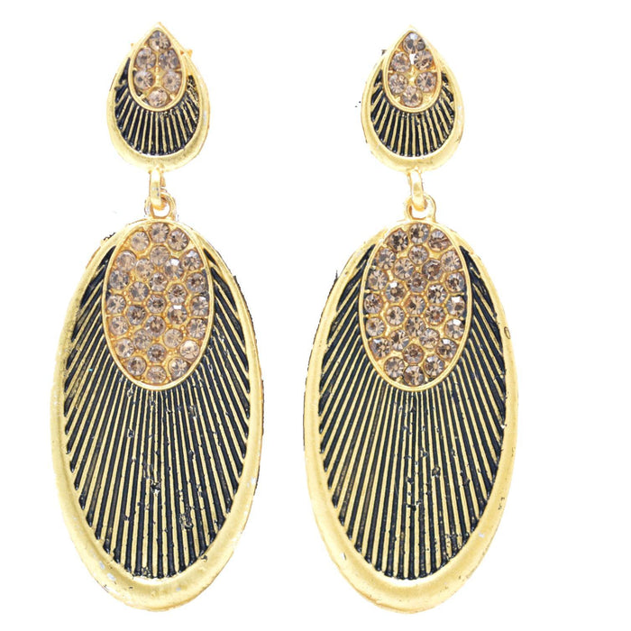 Gold Oxidised Earring Front View