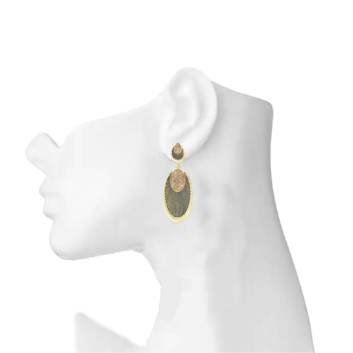 Gold Oxidised Earring On Ear