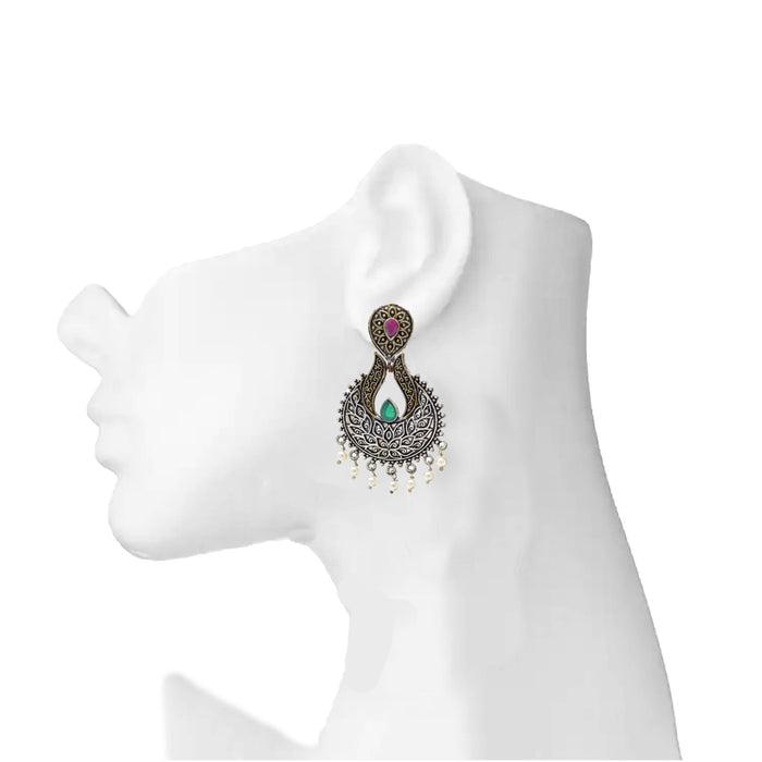 Red, Green & Moti Oxidised Earring On Ear