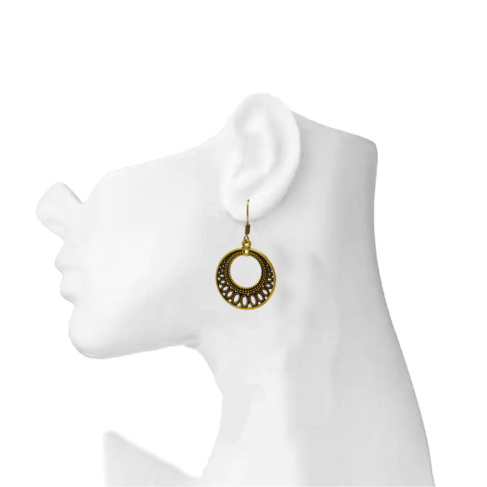 Gold Oxidised Ring Earring On Ear