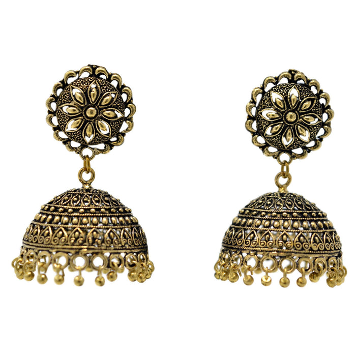 Gold Oxidised Jhumki Earring Front View