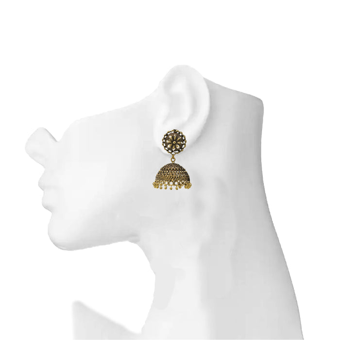 Gold Oxidised Jhumki Earring On Ear