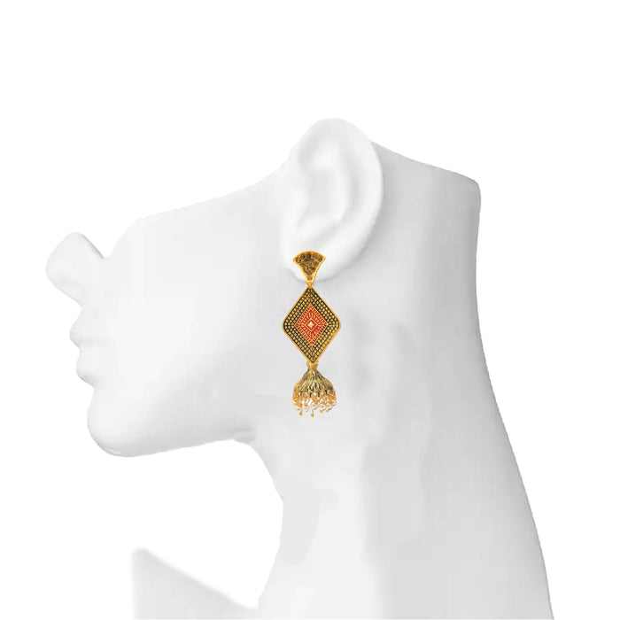 Dull Gold Oxidised Earring On Ear