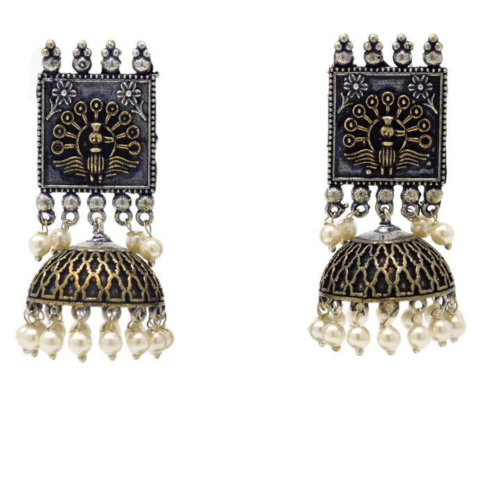 Oxidised Jhumki Earring Front View