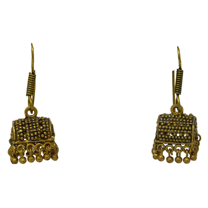 Dull Gold Oxidised Earring front View