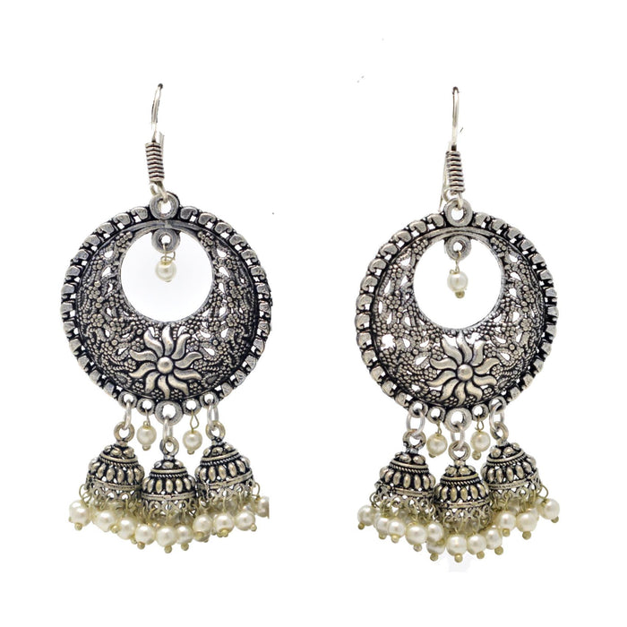Chandbali Jhumki Oxidised Earring Front View