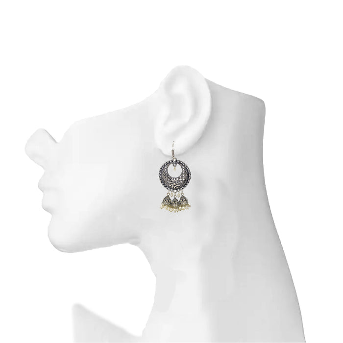 Chandbali Jhumki Oxidised Earring On Ear