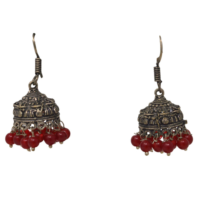 Red Stone & Moti Oxidised Earring Front