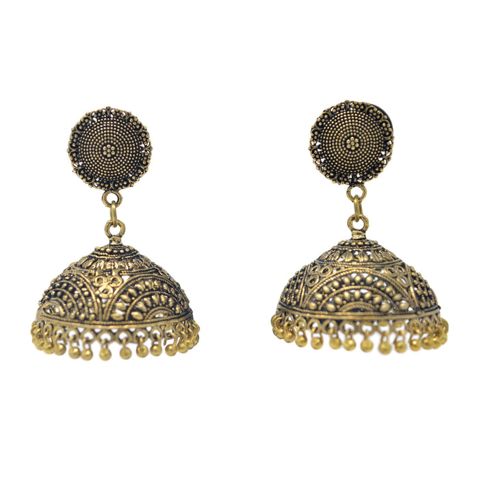 Gold Oxidised Jhumki Earring Front