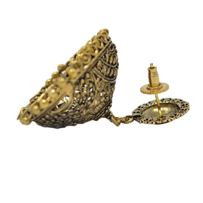 Gold Oxidised Jhumki Earring Back