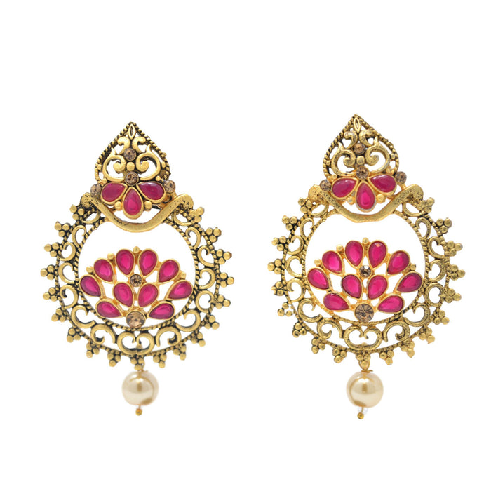 Gold Moti & Red, Stone Oxidised Earring Front View