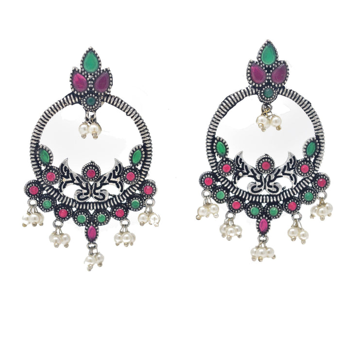 Moti & Red,Green Stone Oxidised Earring Front View