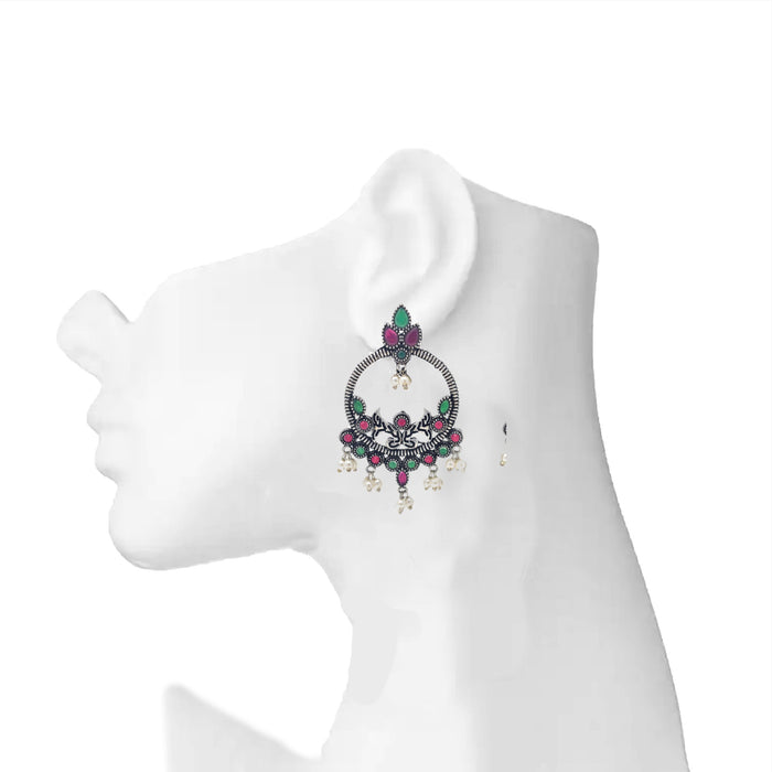 Moti & Red,Green Stone Oxidised Earring On Ear