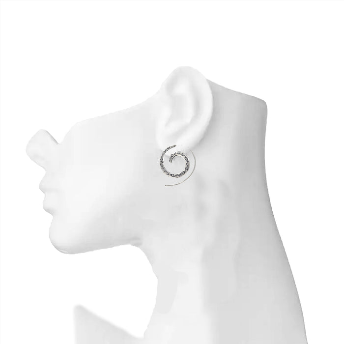 Oxidised Snake Ring Earring On Ear