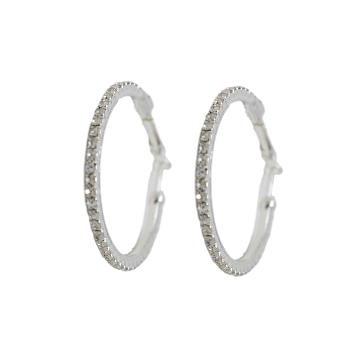 White American Stone Small Hoop Earring Front View