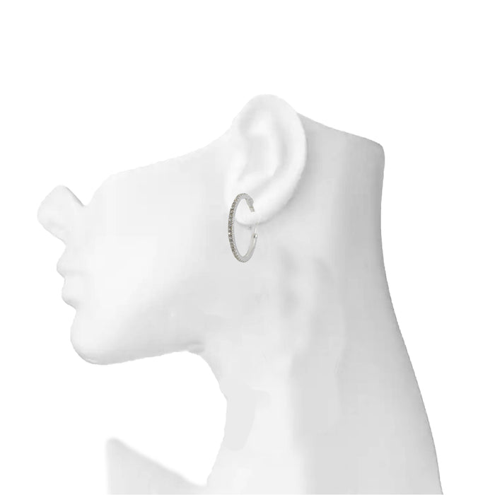 White American Stone Small Hoop Earring On Ear