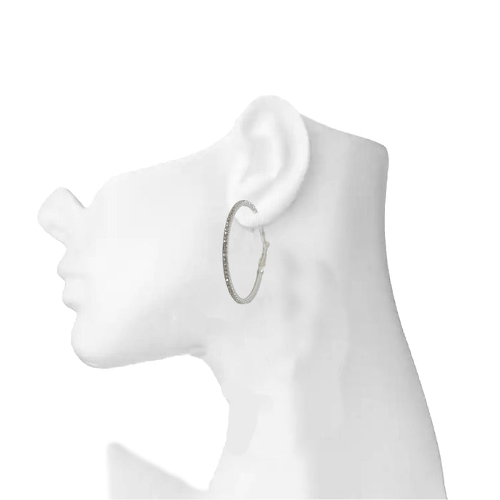 White American Stone Big Hoop Earring On Ear