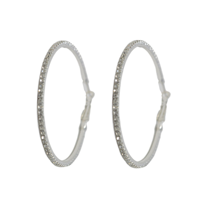 White American Stone Big Ring Earring Earring Front View