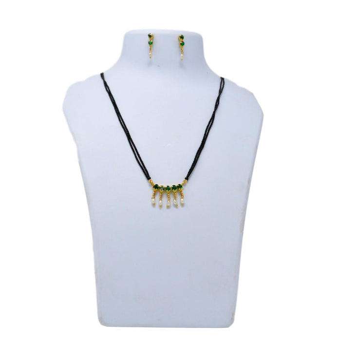 Green Stone Black Mani Mangalsutra Necklace Set On Mannequin