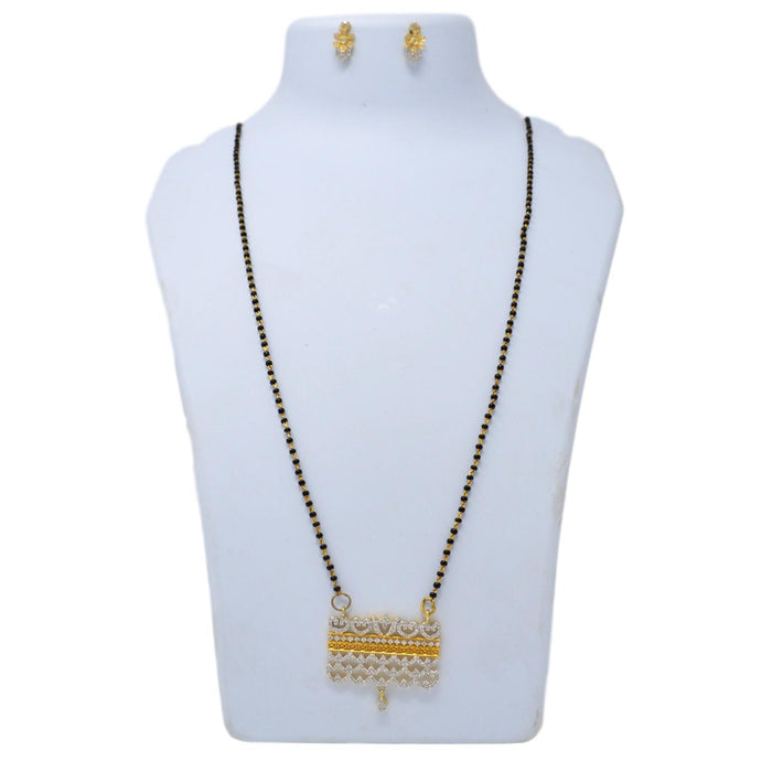 White American Diamond Mangalsutra Set On Mannequin