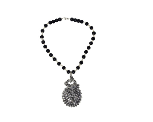 Black Mani Oxidised Peacock  Pendant Necklace Set Top View