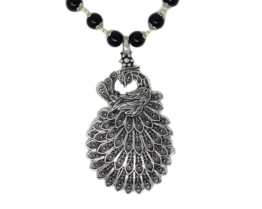 Black Mani Oxidised Peacock  Pendant Necklace Set Close Up