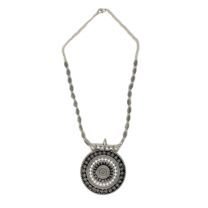 Black & White Pendant Oxidised Necklace Set Top View