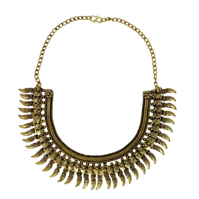 Gold Oxidised Necklace Top View