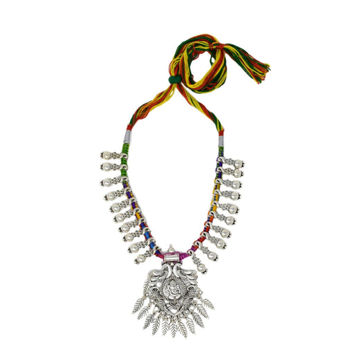 Colour Dhaga Oxidised Necklace Top View