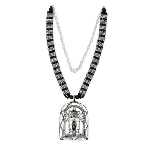 Black Mani Temple Pendant Oxidised Necklace Top View
