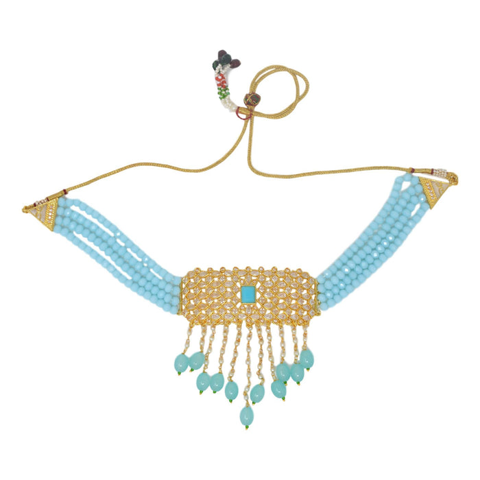 Blue Beads, Moti Kundan Necklace Set Top View