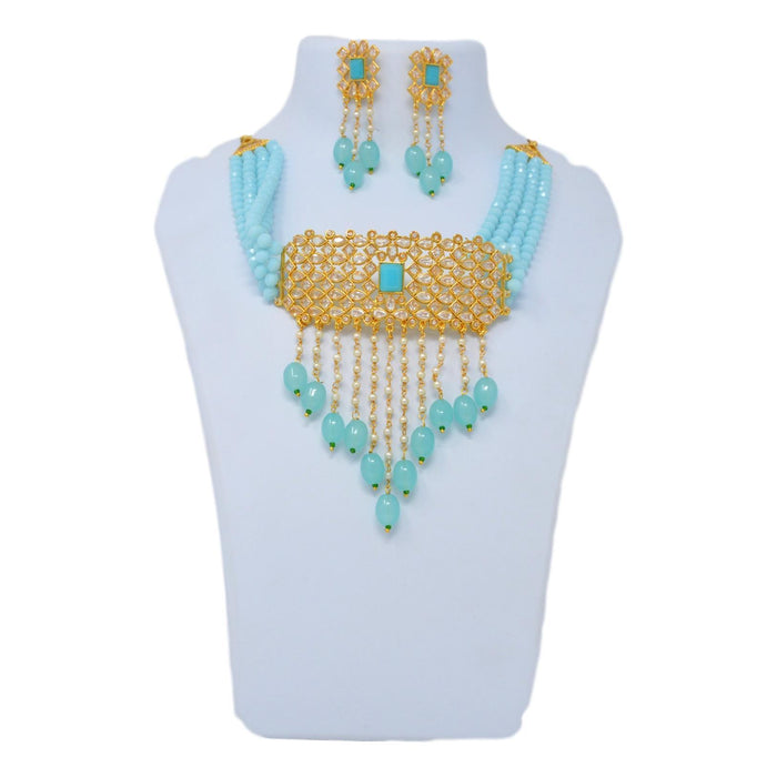 Blue Beads, Moti Kundan Necklace Set On Mannequin