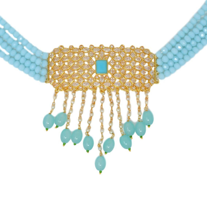Blue Beads, Moti Kundan Necklace Set Close Up