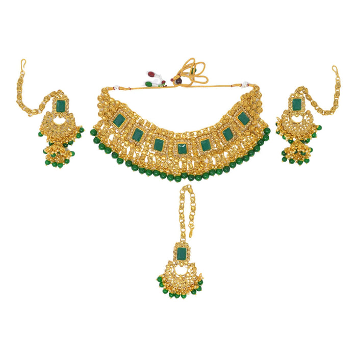 Green Stone, Moti Golden Kundan Necklace Set Top View