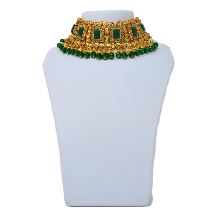 Green Stone, Moti Golden Kundan Necklace Set On Mannequin