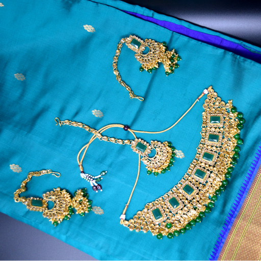 Green Stone, Moti Golden Kundan Necklace Set