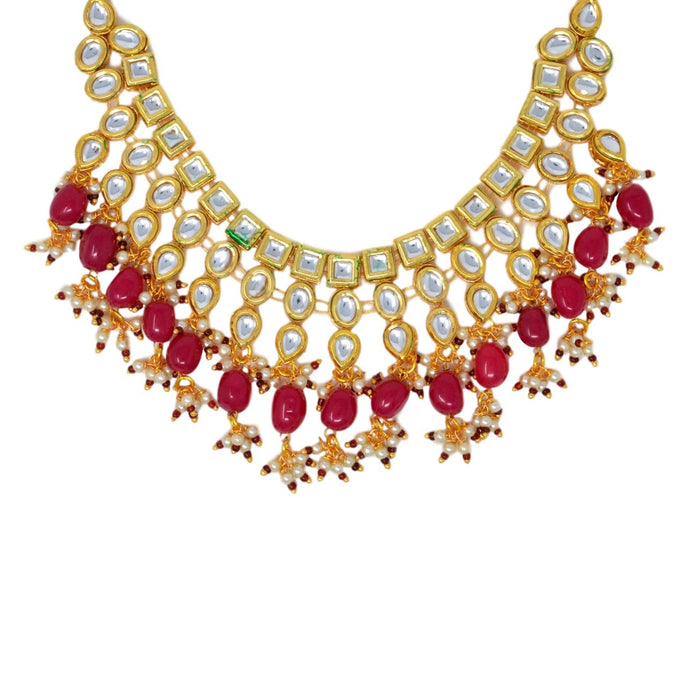 Red Stone and Moti Golden Kundan Necklace Set