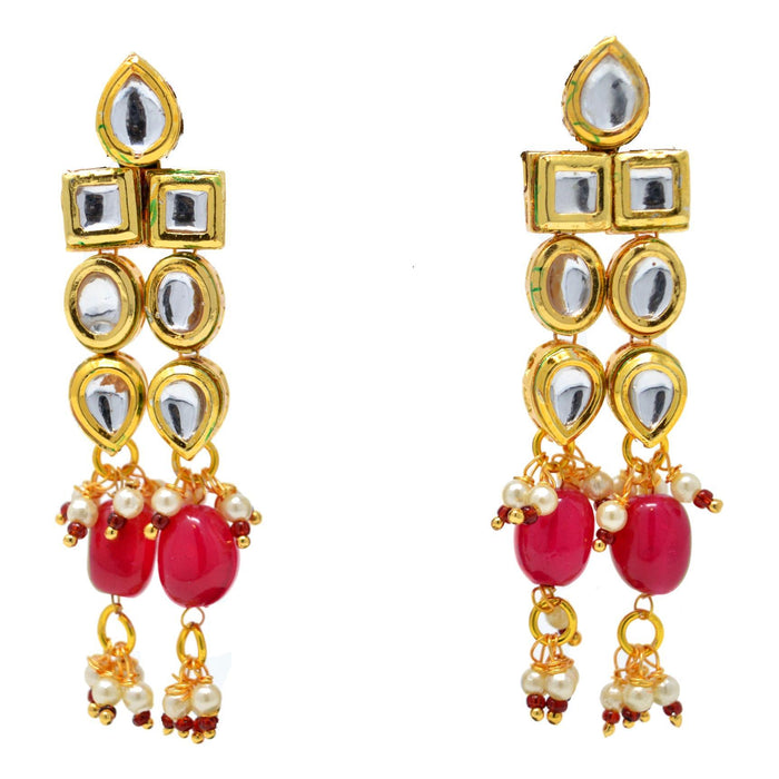 Red Stone and Moti Golden Kundan Necklace Set Earrings