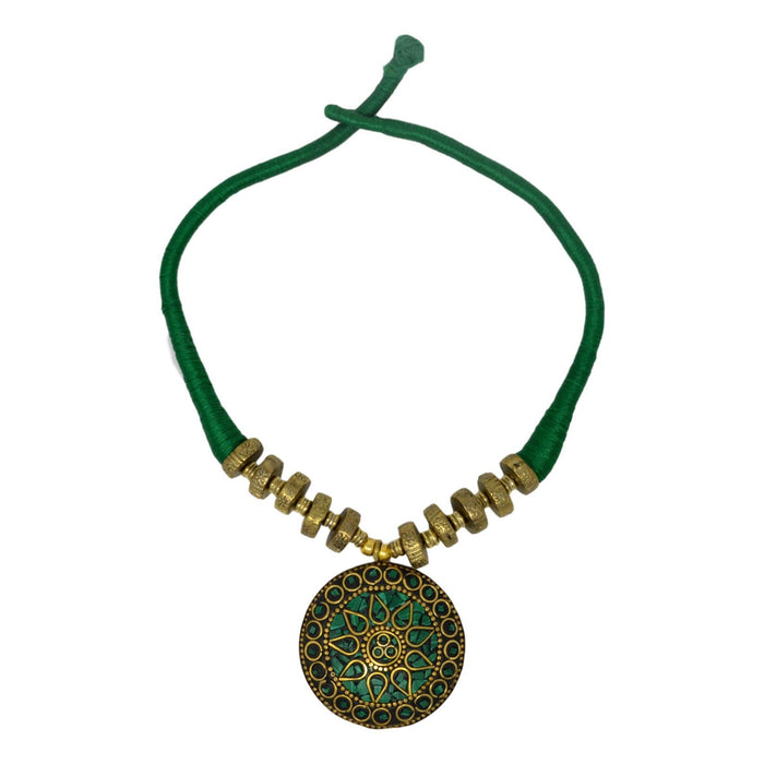 Green Dhaga Oxidised  Necklace Set Top View