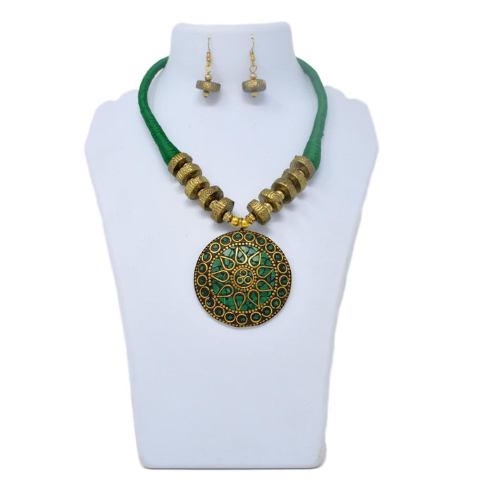 Green Dhaga Oxidised  Necklace Set On Mannequin